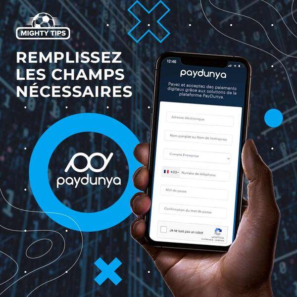 Page d'inscription à PayDunya
